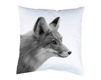 """Pillow case 16"""" fox animal cushion cover with print on both sides optional with filling"""