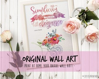 Wall art - quote print typography printable art office decor office print printable poster art watercolor coco chanel