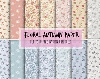 Digital Craft Paper - Floral pattern pack printable digital download for scrapbooking - Craft Sheets - Floral clip art