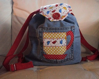 Coffee Mug Denim Backpack. Coffee Lovers. Adjustable. All Ages. Tea Cup. Free Shipping.