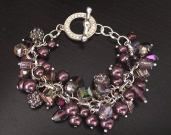 Beaded Swarovski cluster bracelet and earring set.