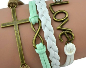 Love and cross bracelet