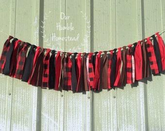 Lumberjack Fabric Banner - Buffalo Plaid, Black, Red, Brown, Birthday Decor, Room Decor