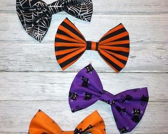 Halloween Bows, Orange and Black Stripe Bow, Baby Hairbows, Toddler Hairbows, Girl Hairbows, Kitten Bows, Purple Halloween Bows, Bat Bows