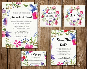 Printable Wedding Invitation Suite - Floral Watercolor