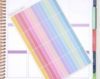 Pastel Rainbow Glossy Blank Label Planner Stickers
