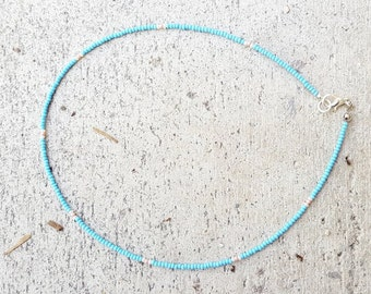 Light blue Seed Bead Choker, blue pearl pink Seed Bead Choker, Czech glass, Minimal Necklace, Blue Seed Bead Choker, Small Beads, tiny beads