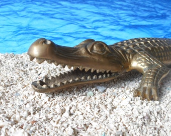 "Vintage Brass Alligator Large(14"") Home Decor Collectible"