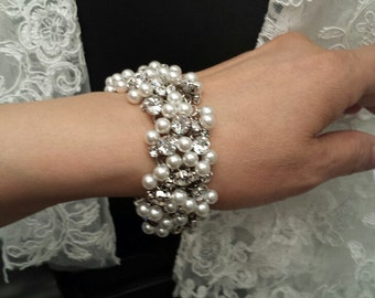 Rhinestone bracelet, clasp & hook, Bridal Pearls bracelet, Wedding Jewelry