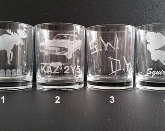 Supernatural themed drinking glasses, Set of 6, available in 16 different styles!