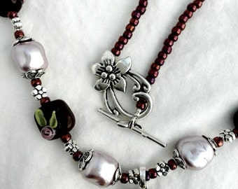 Chocolate Cherries and Cream Lampwork Necklace and Earrings set