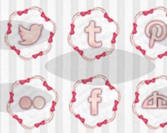 kawaii sweet ribbon social icons / social media / clip art / digital art