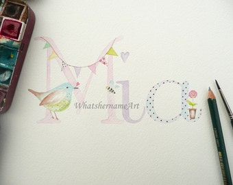 Original Art Custom Name, Name Art, Original Watercolour Name Painting, Baby Name Art, Girl Nursery Decor, Personalized Baby Gift.