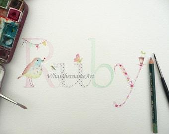 Original Watercolour Name Painting, Name Art, Custom Name, Personalized Children's Art, Nursery Art, Little Girls Room Decor, UK Paintings.