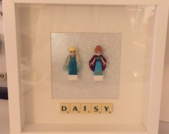 Framed Gifts - Disney Princesses - Ariel Jasmine Belle Snow White Ariel  - in lego minifigures. Gifts for Girls!