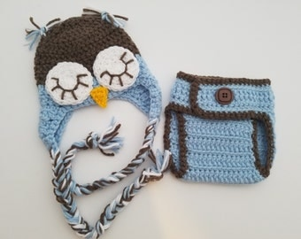 Little Hoot in blue  - newborn diaper cover and hat set