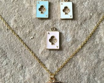 Lovely gold plated ace cards necklace