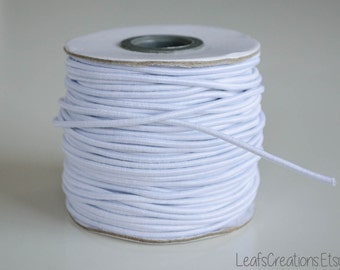 "White elastic cord 2mm (1/12"") Elastic wire Elastic thread Round - 5 meters (5 1/2 yards)"