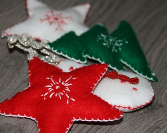 Set of 4 Christmas felt ornaments