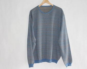 MEN'S Vintage Sweater with Oval Neck (Primarily Light Blue with Multicolour Thread in Pattern) - Size XX LARGE