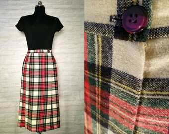 White & Red Tartan Wool Wrap Skirt   vintage 1970s skirt   70s Day Attire