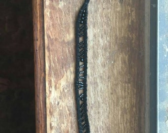Gunmetal and Black Beaded Woven Bracelet