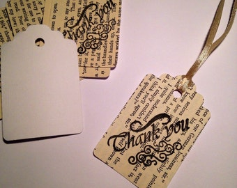 Stamped Vintage Thank You Tags, Thank You Notes, Book Pages Tags, Small Tags