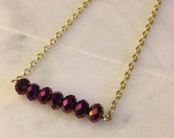 Mulberry purple bead bar necklace