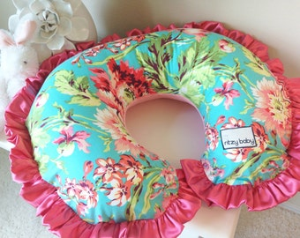 Love Bliss Bouquet Teal and Coral Nusing Pillow Cover