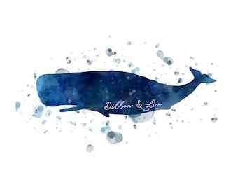 Blue Whale watercolor Printable Art