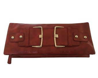 60's Styled Clutch With Huge Silver Buckles