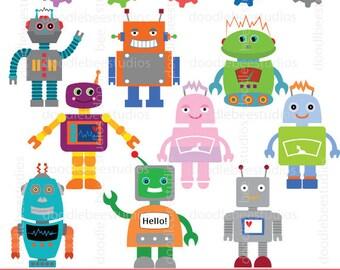 Robots Clipart, Robot Clipart Set, Robots Clip Art Digital Download, Cute Robots, Smiley Robots, Gears