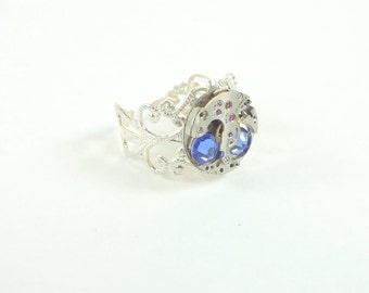 Steampunk Ring Vintage Clockwork With Blue  Crystals