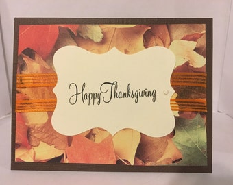 Happy Thanksgiving Elegant Fall Leaves Collage Card- Handmade