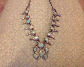 Vintage Native American SQUASH BLOSSOM Necklace...Dry Creek Turquoise...EXQUISITE!