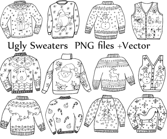 Ugly Sweater ClipArt CHRISTMAS CLIPART Holiday Clipart Doodle Clip Art Vector Files Christmas Jumper