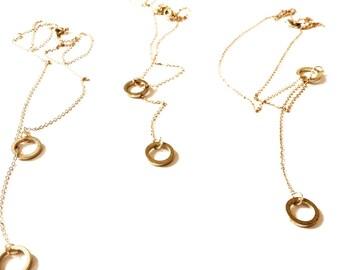 Raw brass lariat necklace