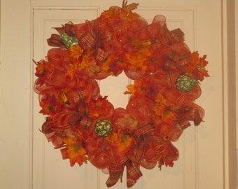 Fall Deco Mesh Wreath - Harvest Wreath - Autumn Home Decor - Deco Mesh Door Decor - Faux Gourds - Fall Harvest Wreath - Thanksgiving Wreath