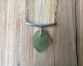 Sterling Silver Pale Green Sea Glass Necklace