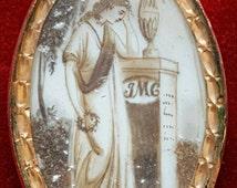 Antique Georgian Mourning  Memento Engraved Mori Sepia Pendant Love Token Sentimental Jewelry Initials AMC JMC Free Shipping