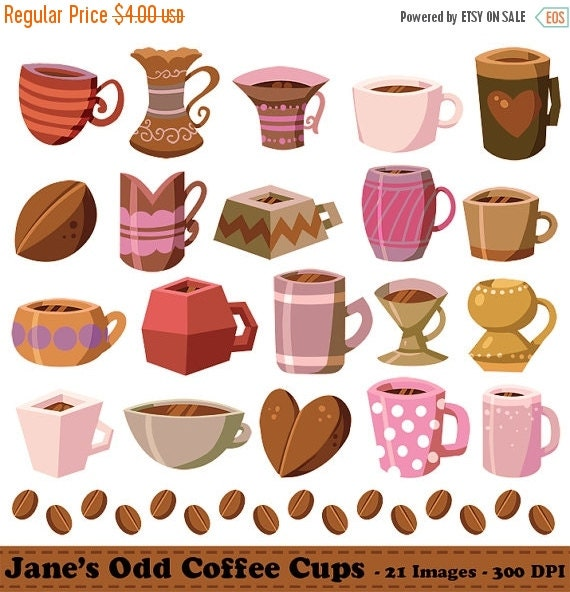 50% OFF Coffee Clipart Coffee Cups Graphics by DigitalArtsi