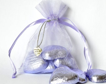 Organza Favour Bags with Foil Wrapped Chocolates & Decoration - Ready made Favours