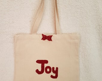 Red Joy canvas tote shoulder bag