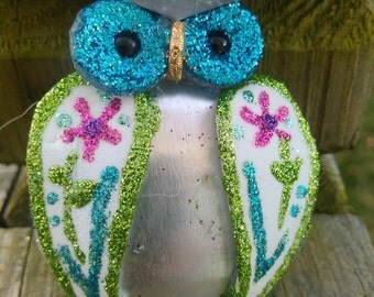 Owl Ornament / Owl Christmas / Ornament /Recycled/repurposed Owl Collector Ornament...hand crafted...up cycled...funky