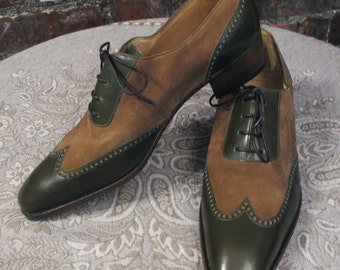 Gravati for Neiman-Marcus Green and Tobacco Wingtip Shoes
