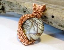 Wire Wrapped Pendant, Red Creek Jasper Wire Weave Pendant, Semi Precious Stone Jewelry, Earth Tones