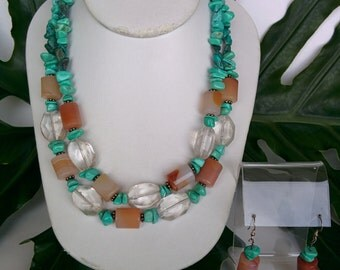 Turquoise, Carnelian and Crystal Necklace