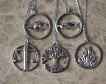 5pcs antique silver Divergent necklace