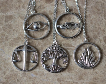 5pcs Antique Silver Divergent Necklace