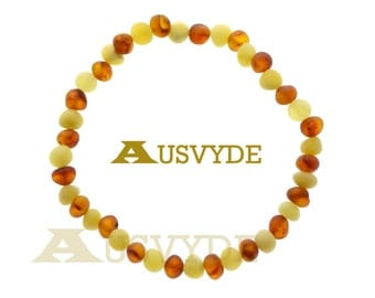 Raw (unpolished) Baltic amber bracelet raw Matte cognac Baroque Oval Beads Natural Amber with Healing raw beads 18 cm or 7,1 inch, 5337